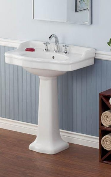 Vitreous China 28 Pedestal Bathroom Sink with Overflow by Cheviot Products