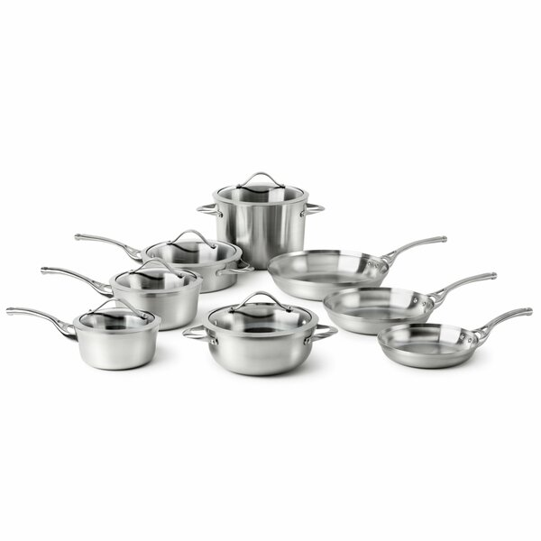 Contemporary 13 Piece Stainless Steel Cookware Set by Calphalon