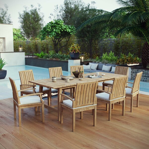 Christian Outdoor Patio 9 Piece Teak Dining Set with Cushions by Rosecliff Heights