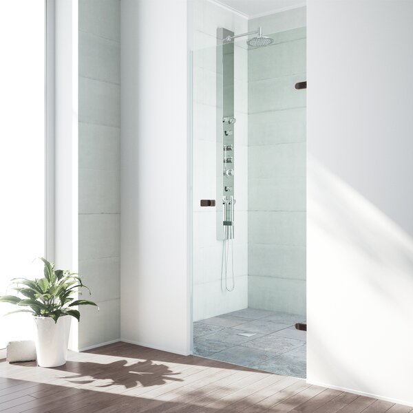 Tempo 30.5 x 70.625 Hinged Adjustable Frameless Shower Door by VIGO