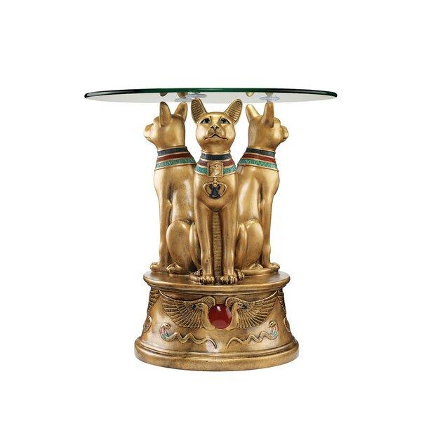 Royal Golden Bastet Egyptian End Table By Design Toscano