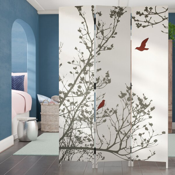 Bluestar Bird 3 Panel Room Divider by Ivy Bronx