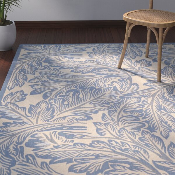 Amaryllis Natural/Blue Indoor/Outdoor Area Rug by Bay Isle Home