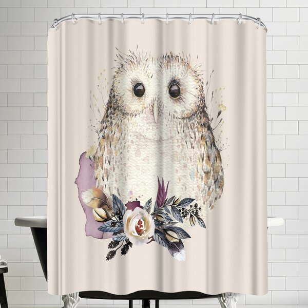 Grab My Art Boho Flower And Owl Shower Curtain by East Urban Home