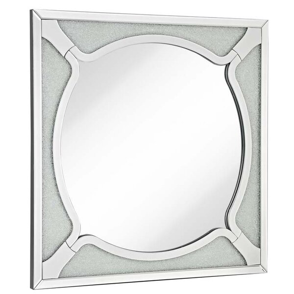 Square Wood Frame Round Beveled Mirror with Glass Beads Accent Wall Mirror by Majestic Mirror