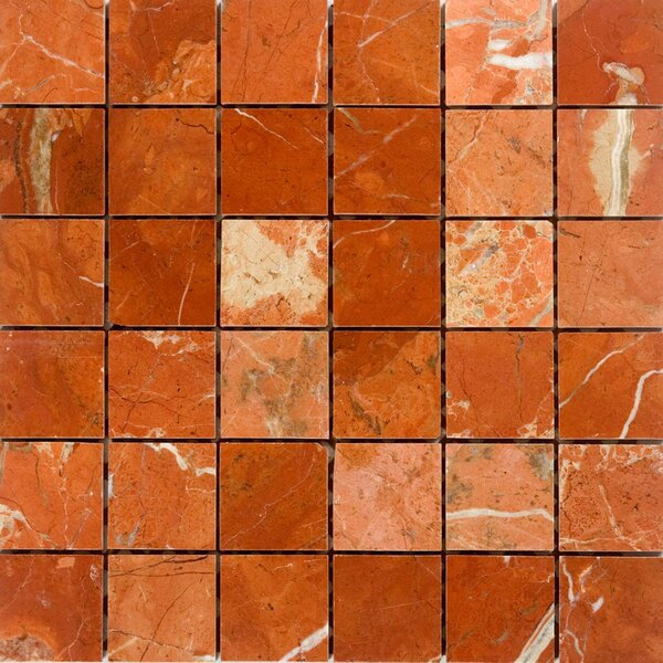 2 x 2 Marble Mosaic Tile in Polished Red by Epoch Architectural Surfaces