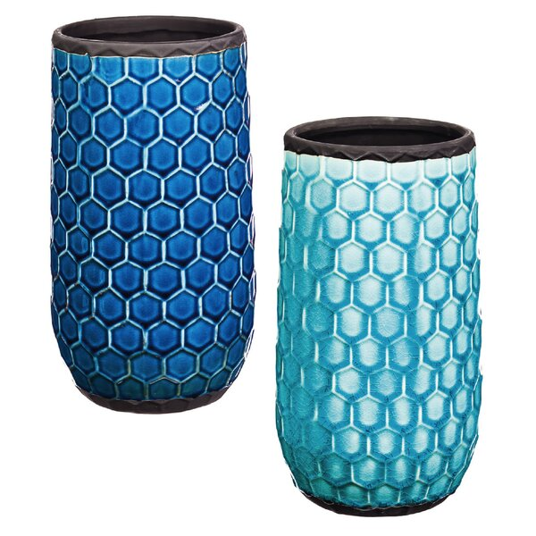 Xuan Tall Honeycomb Ceramic Pot Planter (Set of 2) by Evergreen Enterprises, Inc