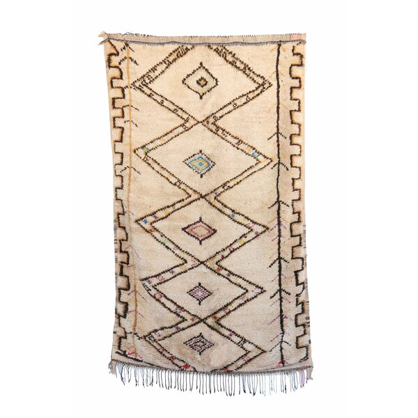 Azilal Vintage Moroccan Hand Knotted Wool Beige/Yellow/Teal Area Rug by Indigo&Lavender