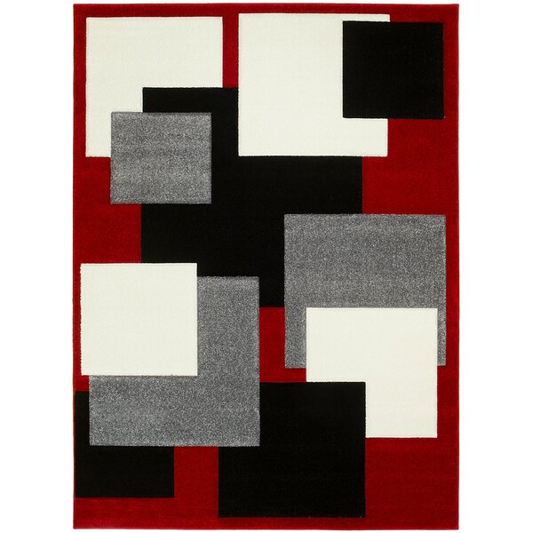 Ty Hand-Carved Red/Gray/Black Area Rug by Latitude Run