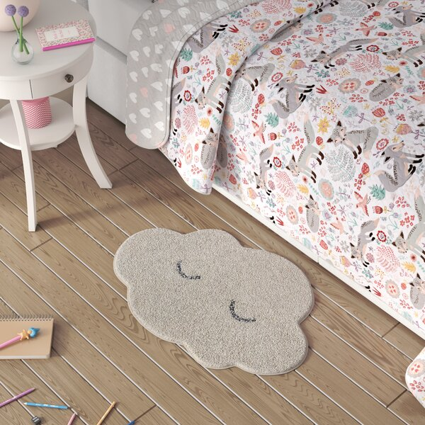 Tyreek Cotton White Area Rug by Harriet Bee