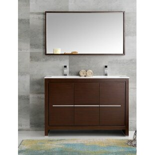 Reviews Trieste 48 Allier Double Modern Sink Bathroom Vanity Set with Mirror By Fresca
