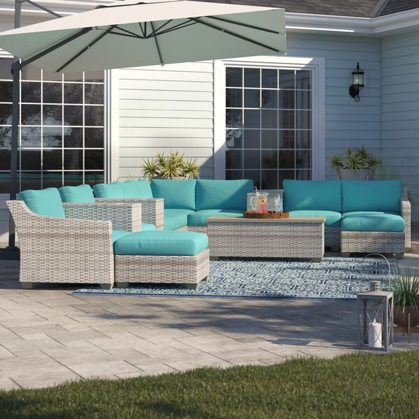 Falmouth 14 Piece Rattan Sectional Seating Group with Cushions by Sol 72 Outdoor
