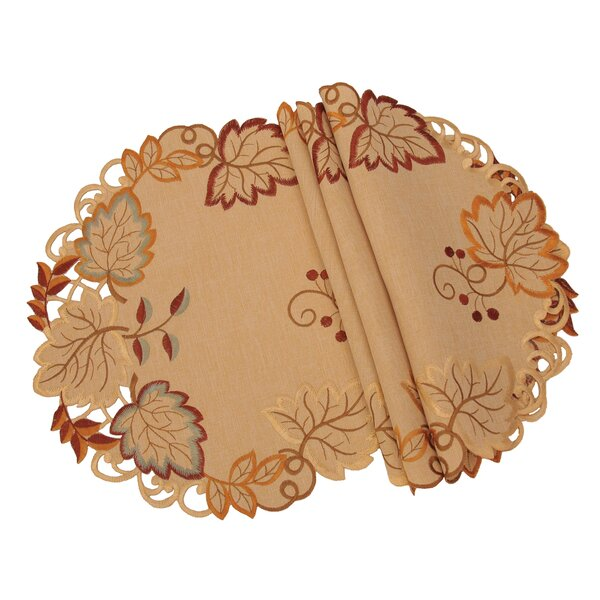 Harvest Verdure Embroidered Cutwork Fall Placemat (Set of 4) by Xia Home Fashions