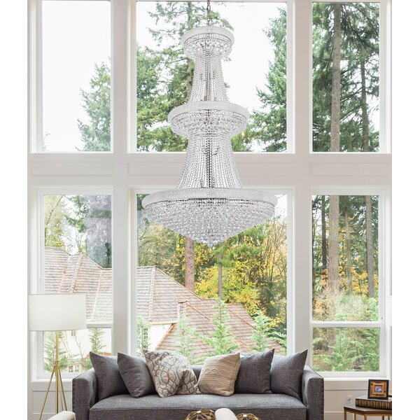 Jessenia 38 - Light Unique / Statement Empire Chandelier With Crystal Accents By Willa Arlo Interiors
