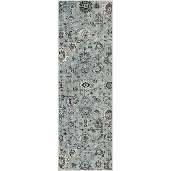 Laguna Distressed Floral Gray/Teal Area Rug by Ophelia & Co.