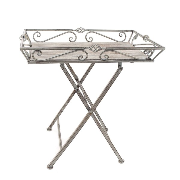 Mayna Garden Folding Iron Side Table by Ophelia & Co.