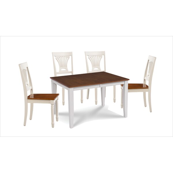 Wahl 5 Piece Extendable Solid Wood Dining Set by Breakwater Bay Breakwater Bay