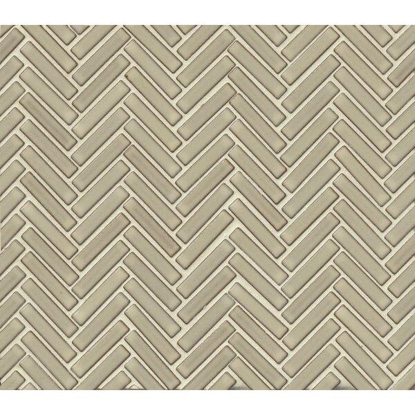 Herringbone Mosaic 11 x 12.25 Porcelain Tile in Light Gray by Grayson Martin
