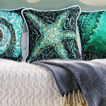 Mosaic Starfish Indoor/Outdoor Throw Pillow by My Island