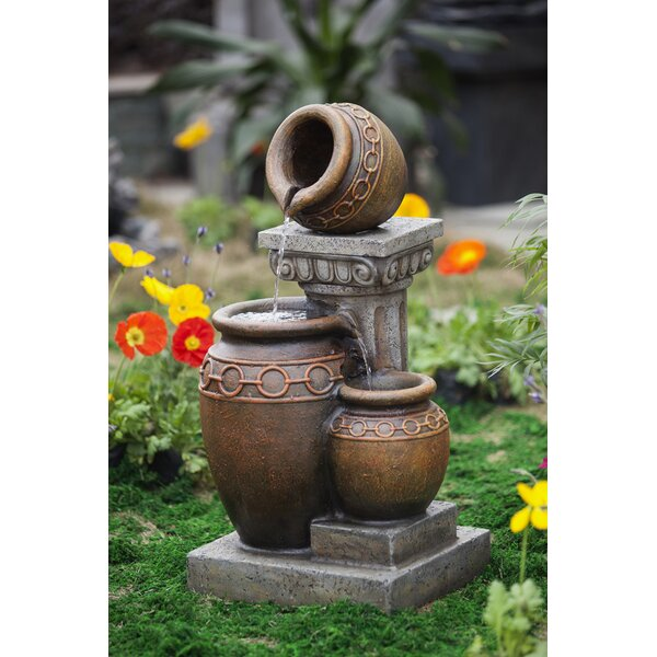 Resin/Fiberglass Classic 3-Pot and Column Water Fountain by Jeco Inc.