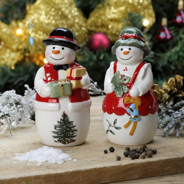 Christmas Tree Figural 2 Piece Mr And Mrs Snowman Salt And Pepper Set By Spode.
