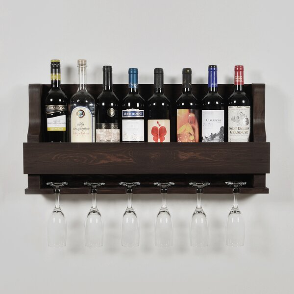 Anding Natural 8 Bottle Wall Mounted Wine Bottle and Glass Rack by Rebrilliant Rebrilliant
