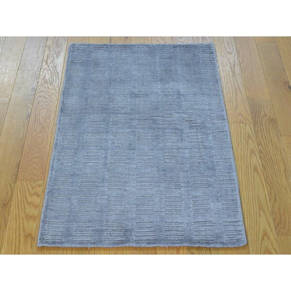One-of-a-Kind Bean Art Handwoven Grey Silk Area Rug by Isabelline