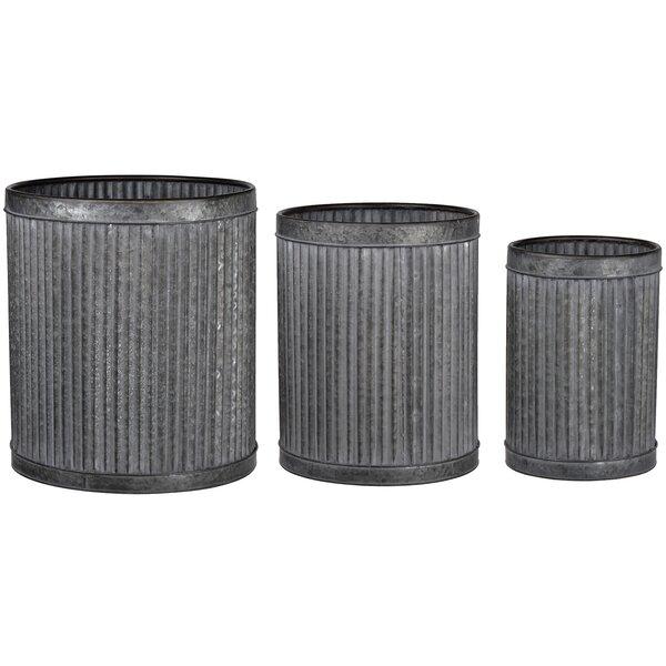 Bednarek 3 Piece Vertical Ridge Metal Pot Planter Set by Gracie Oaks