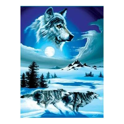 0dac46b7a5 Ben and Jonah Royal Plush Extra Heavy Queen Size Wolf Moon Blanket ...