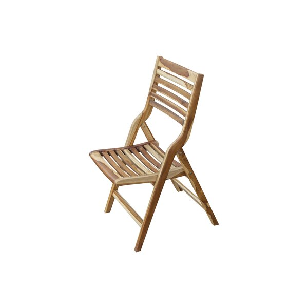 Mayne Mid-Century Modern Indoor/Outdoor Folding Teak Patio Dining Chair by Wrought Studio