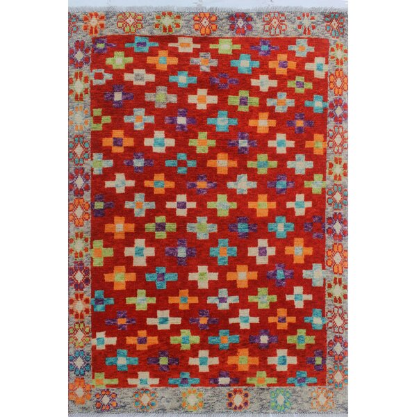 Oneybrook Hand-Knotted Wool Red/Blue Area Rug by World Menagerie