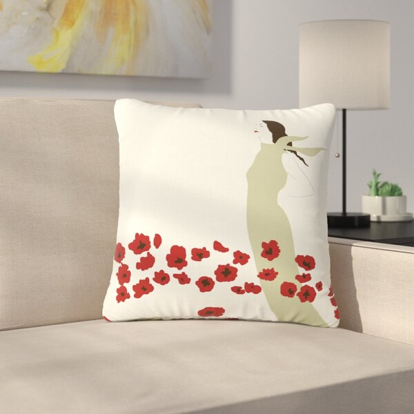 Mayacoa Studio Poppy Field Outdoor Throw Pillow by East Urban Home