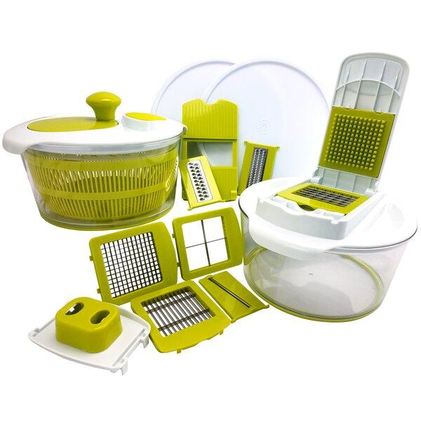 10-Piece Salad Spinning Slicer, Dicer and Chopper Set by Mega Chef