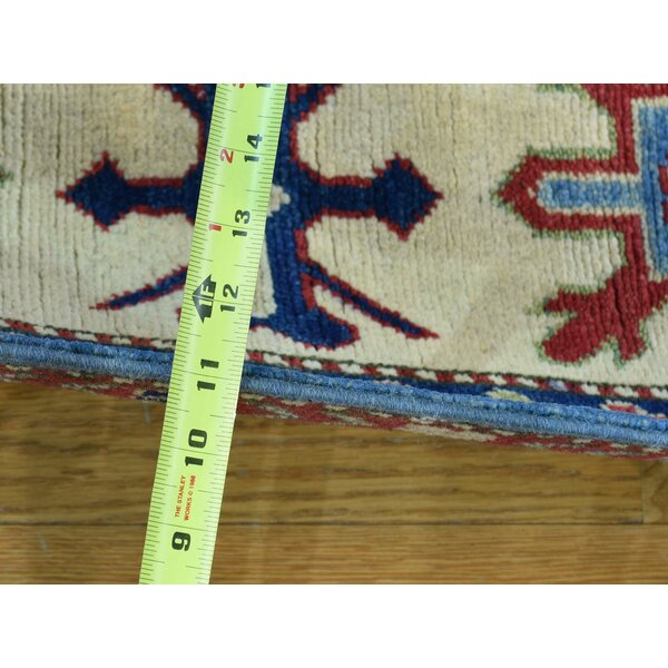 One-of-a-Kind Clouden Kazak Tribal Design Handwoven Blue Wool Area Rug by Isabelline