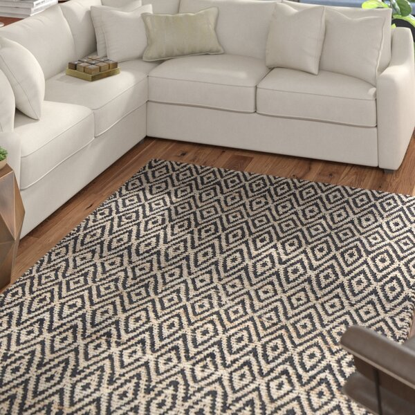 Pyrrhos Diamond Hand-Woven Black/Beige Area Rug by Mercury Row