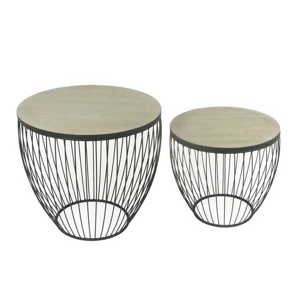 2 Piece Barrel End Table Set by Sagebrook Home