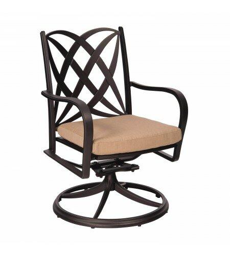 Apollo Rocker Swivel Patio Dining Chair with Cushion by Woodard