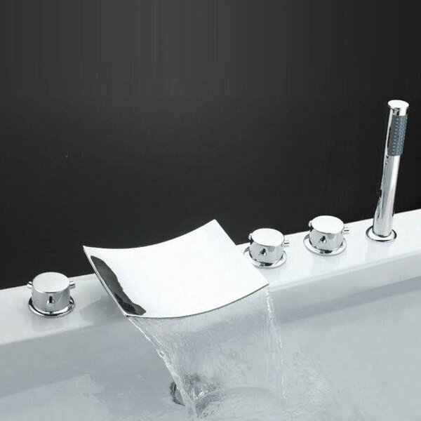 Triple Handle Deck Mount Waterfall Tub Faucet with Handshower by Sumerain International Group