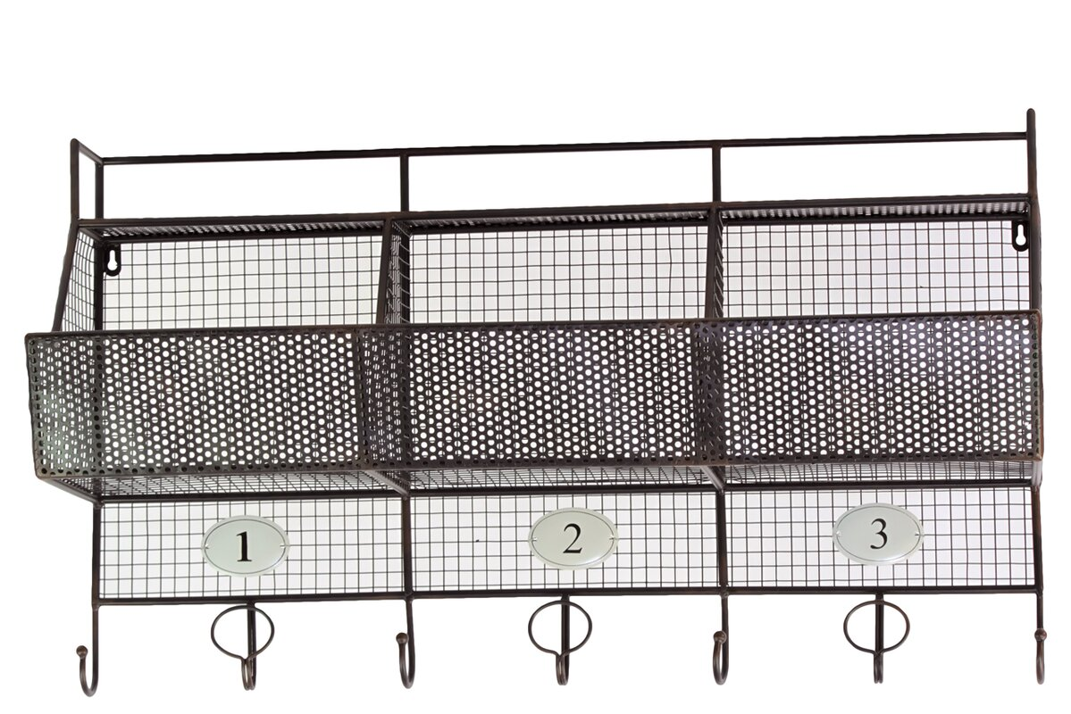 Urban Trends Metal Shelf and Coat Hanger with Mesh Backing, 3 ...