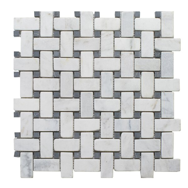 Milas Marble Mosaic Tile in Black/Gray by Seven Seas