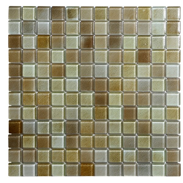 Hi-Fi 1 x 1 Glass Mosaic Tile in Brown/Beige by Kellani