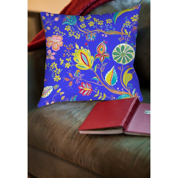 La Roque Summer Floral Printed Throw Pillow by Manual Woodworkers & Weavers