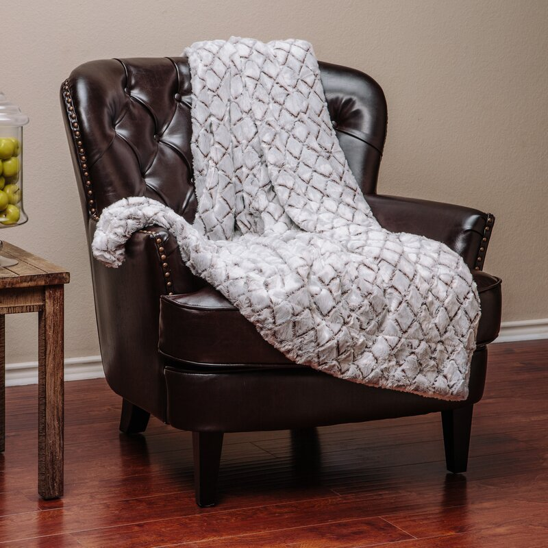 Chanasya Super Soft Cozy Diamond Shape Embossed Beige Creme White Inspiration Fuzzy Gray Throw Blanket