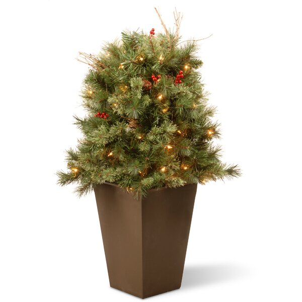 Glistening Porch Bush Pine Artificial Christmas Tr