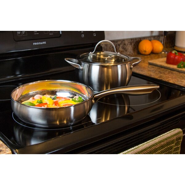 9.5 Round Stainless Steel Casserole Fry Pan with Lid by Diamond Home