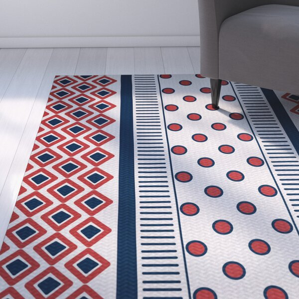 Abbie Red/Blue Indoor/Outdoor Area Rug by Ebern Designs
