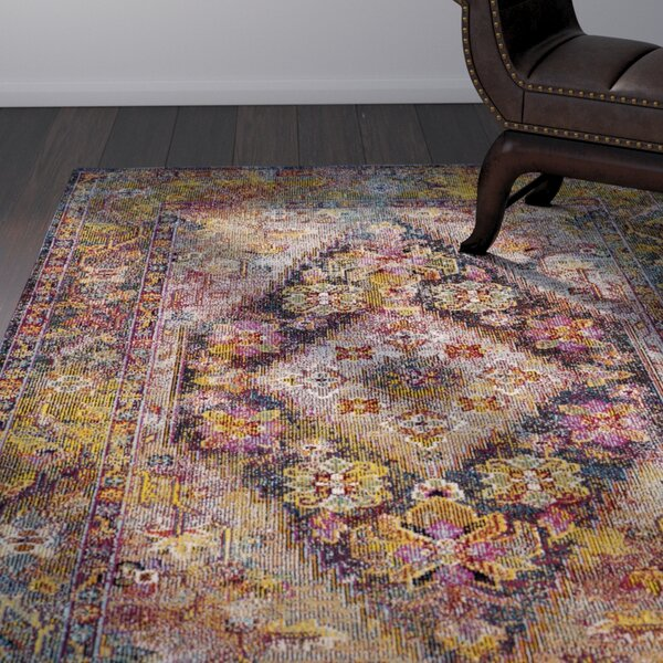 Vivace Pink/Yellow Area Rug by World Menagerie
