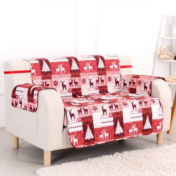 Christmas Lodge T-Cushion Loveseat Slipcover By Pegasus Home Fashions