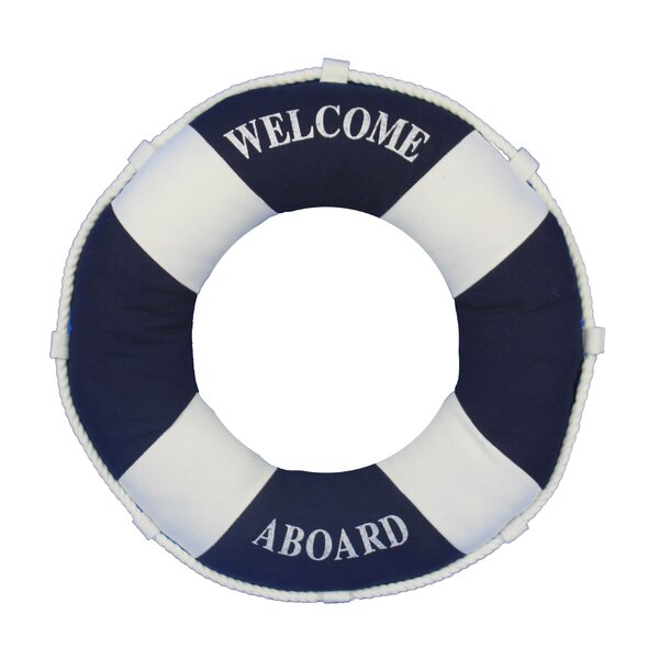 Welcome Aboard Life Ring Pillow by Handcrafted Nautical Decor