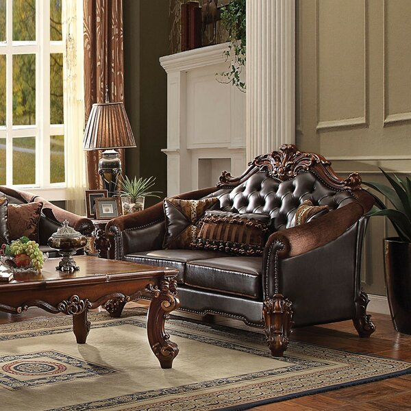 Dark Brown Faux Leather Loveseat With 3 Pillows by Astoria Grand Astoria Grand